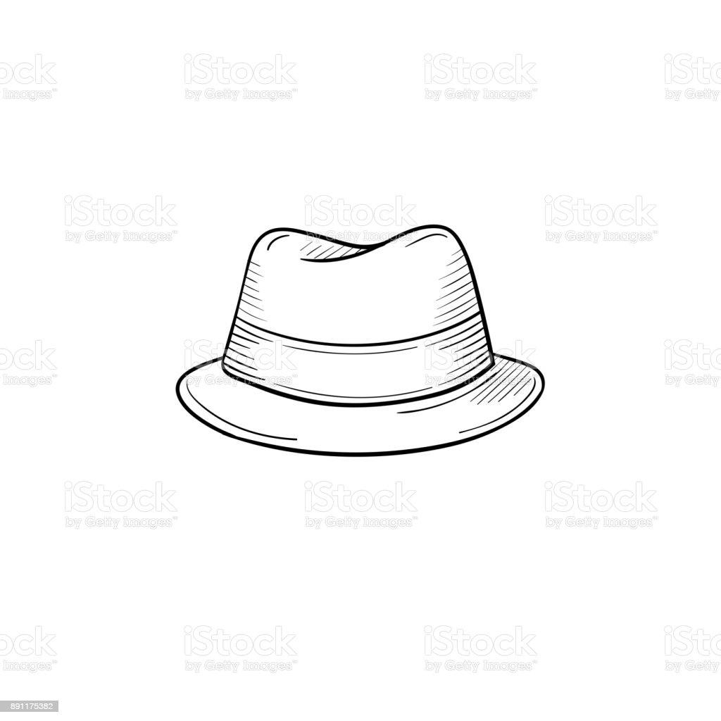 Classic hat hand drawn sketch icon vector art illustration