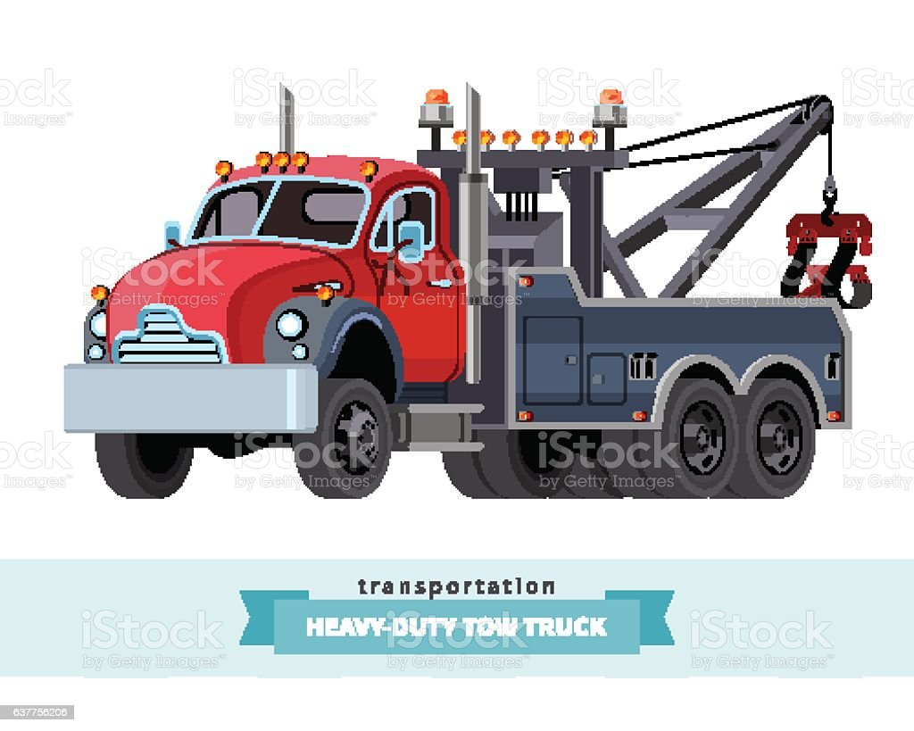 Classic heavy duty tow truck front side view vector art illustration