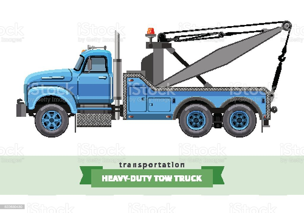 Classic heavy duty tow truck side view vector art illustration