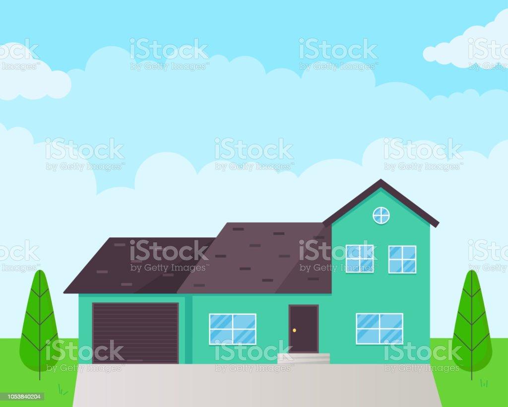 Klassiek huis exterieur vlakke stijl ontwerp vectorillustratie met