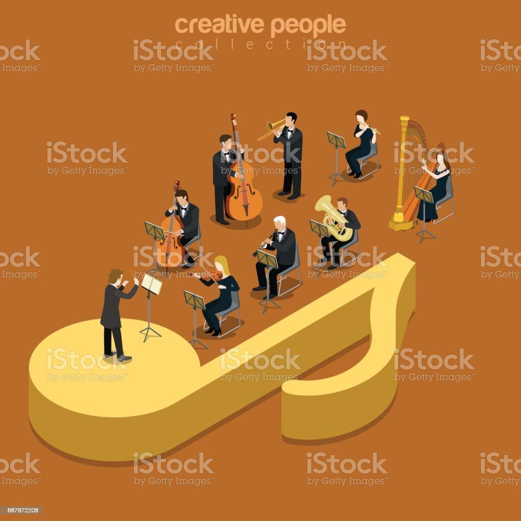 Classic instrumental orchestra concert flat 3d isometry isometric music show concert concept web vector illustration. Micro classical musician band playing on huge note. Creative people collection. vector art illustration