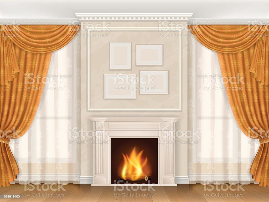Classic interior with fireplase moldings and window vector art illustration
