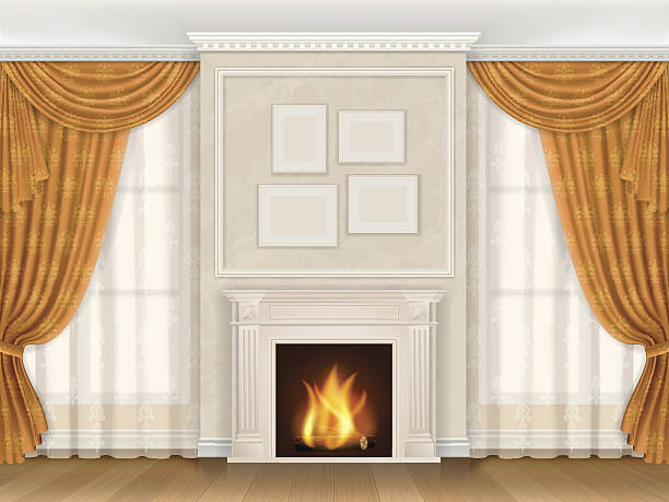classic interior with fireplase moldings and window - карниз stock illustrations