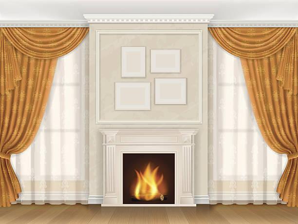 classic interior with fireplase moldings and window - gesims stock-grafiken, -clipart, -cartoons und -symbole