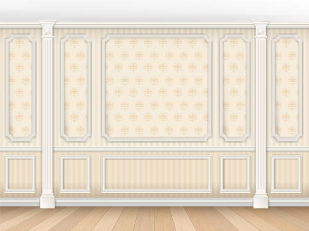 classic interior with moldings and pilasters - карниз stock illustrations