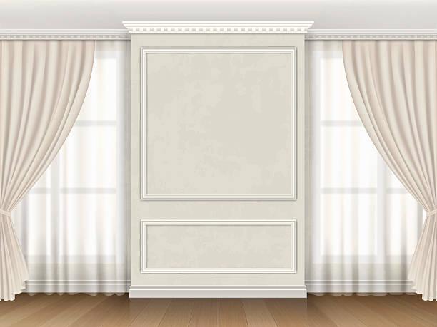 классический интерьер с панели сводов и windows шторы - карниз stock illustrations