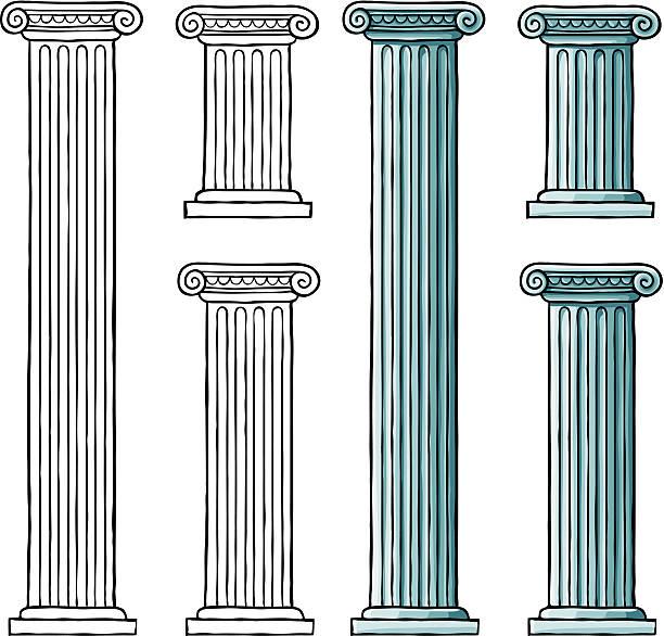 Classic Ionic Columns  greco roman style stock illustrations