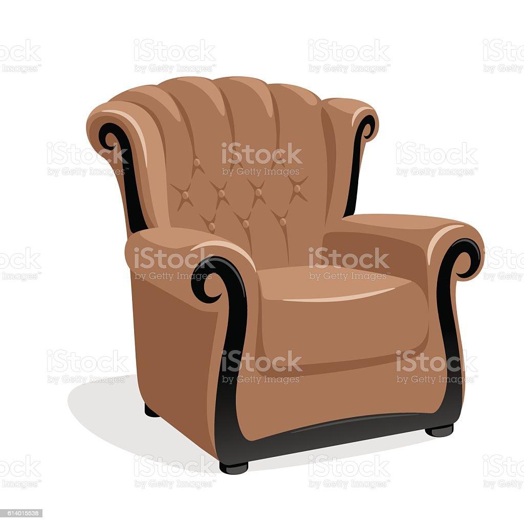 Classic leather armchair vector art illustration