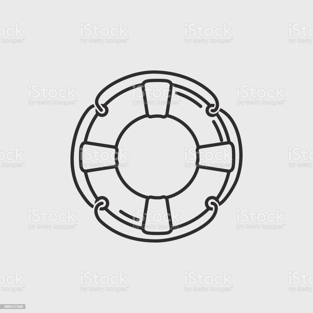 classic lifebuoy icon vector art illustration