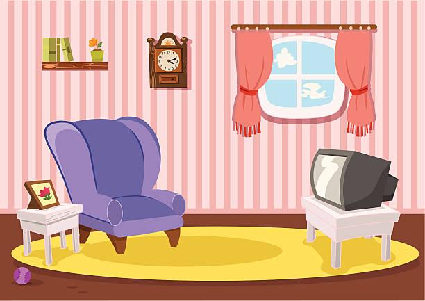 ilustrações de stock, clip art, desenhos animados e ícones de clássico de sala de estar - living room background
