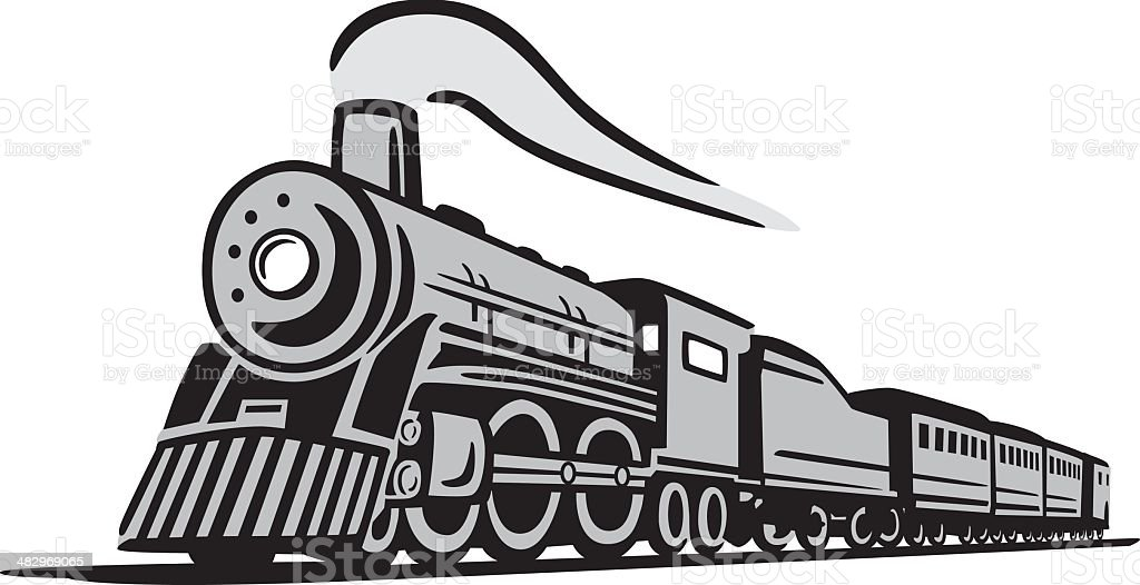 Classic Locomotive Train vector art illustration