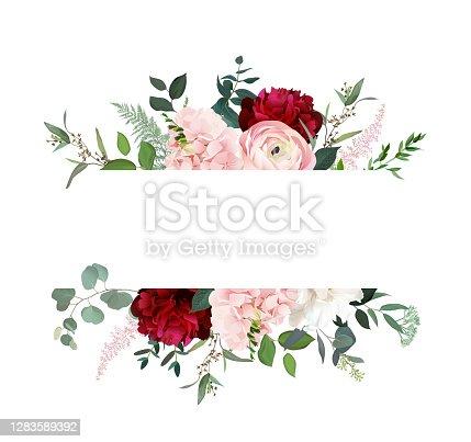 istock Classic luxurious burgundy red peony, dark and blush ranunculus, dusty pink hydrangea 1283589392