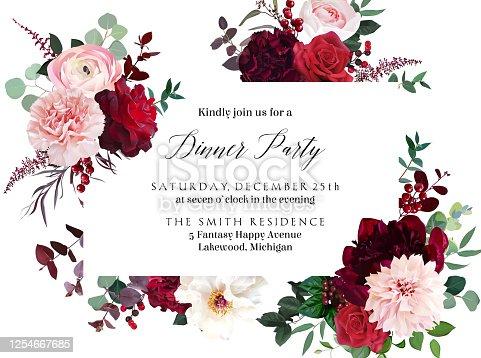 istock Classic luxurious red roses, marsala carnation, white peony, berry, ranunculus 1254667685