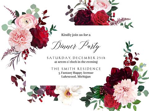 Classic luxurious red roses, marsala carnation, white peony, berry, ranunculus, dusty pink dahlia, eucalyptus vector design wedding card. Elegant fall wedding flowers invitation. Isolated and editable