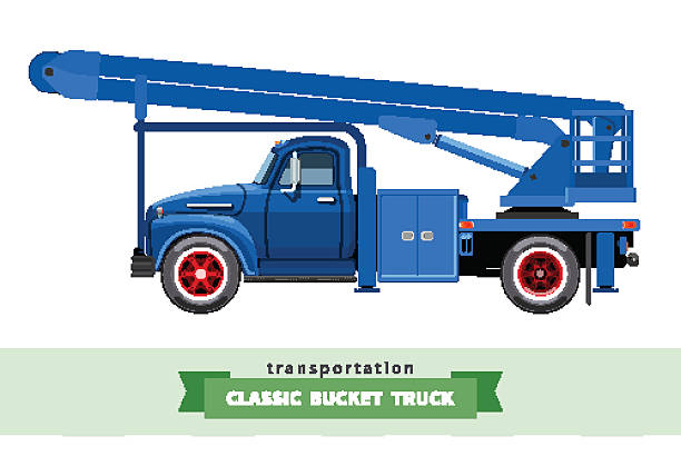 bildbanksillustrationer, clip art samt tecknat material och ikoner med classic medium duty bucket truck side view - skylift