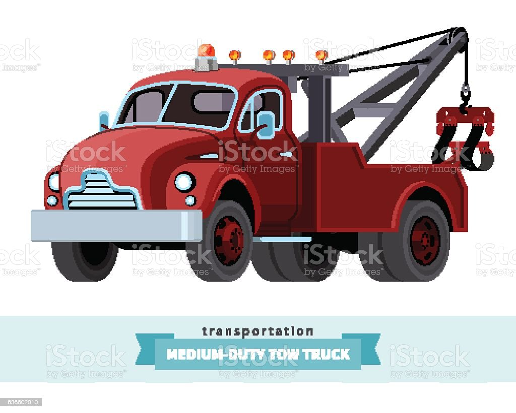 Classic medium duty tow truck front side view vector art illustration