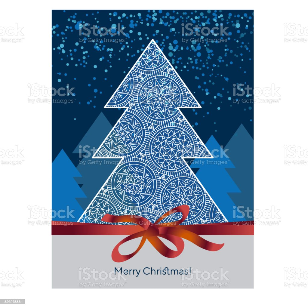 Classic Merry Christmas and happy new year, greeting cardtemplate. Xmas Vector illustrationin red, blue and white color vector art illustration