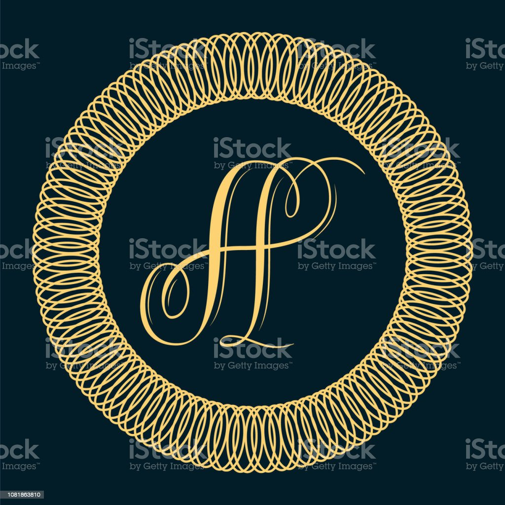 Classic monogram design - letter A vector art illustration