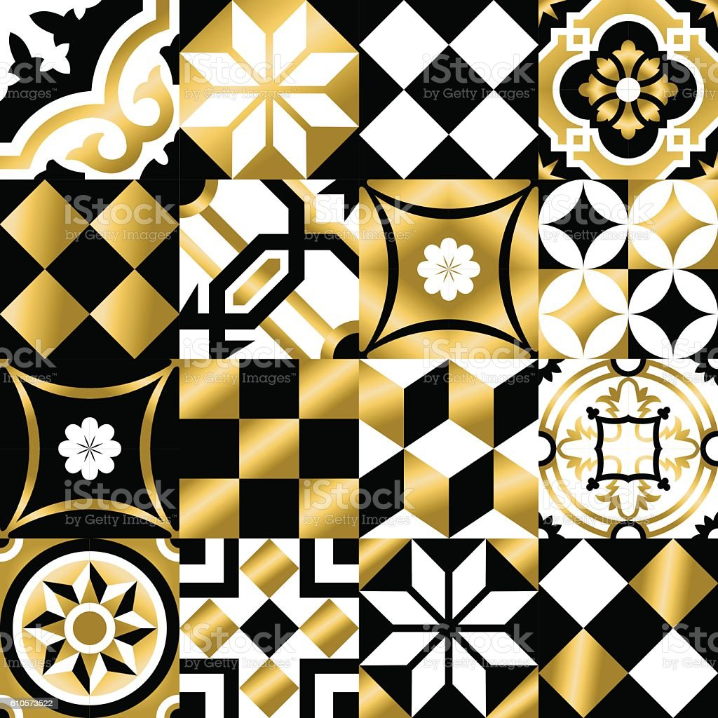 Classic mosaic tile seamless pattern in gold color vector art illustration