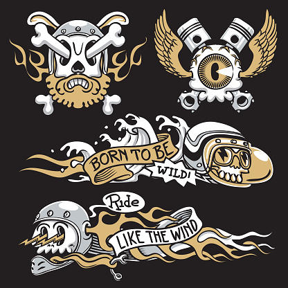 classic motorcycle decal art set