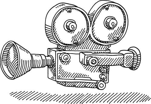 Classic Movie Camera Drawing