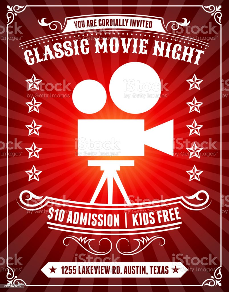Classic Movie Night Poster on Red Background vector art illustration