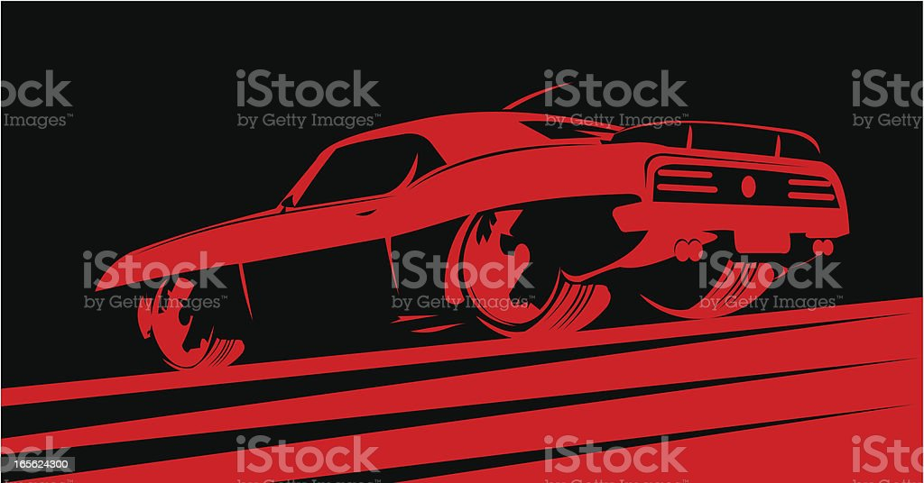 Classic muscle car in red vector art illustration