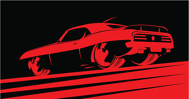 Classic muscle car in red Classic muscle car in red. Sin City style. Color can be easily changed. See also: sports car stock illustrations