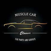 Muscle Car Silhouette On Black Background With Reflection Vector