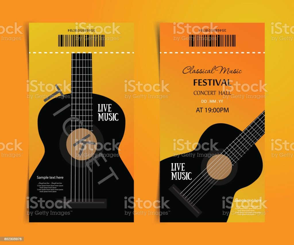 Classic Music Festival Vector Ticket Design Template With