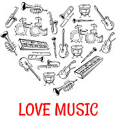 Drum, guitar, saxophone, trumpet, trombone, clarinet, violin and synthesizer sketch icons creating a silhouette of a heart. Love Music concept or classic orchestra concert design