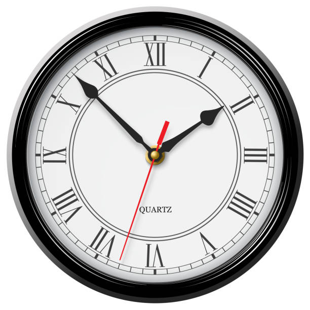 Classic noble wall clock with roman numerals in black glossy body isolated on white background Classic noble wall clock with roman numerals in black glossy body isolated on white background wall clock stock illustrations
