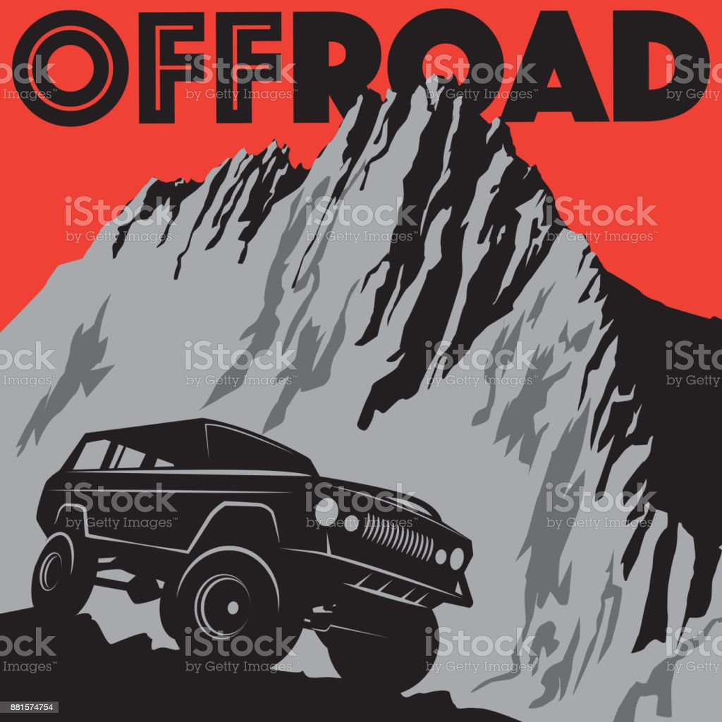Classic off-road car vector art illustration