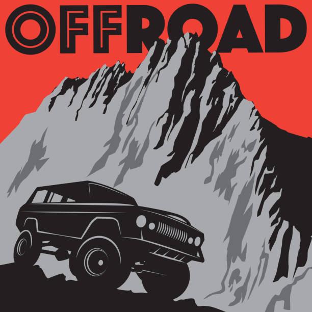 Classic off-road car vector art illustration