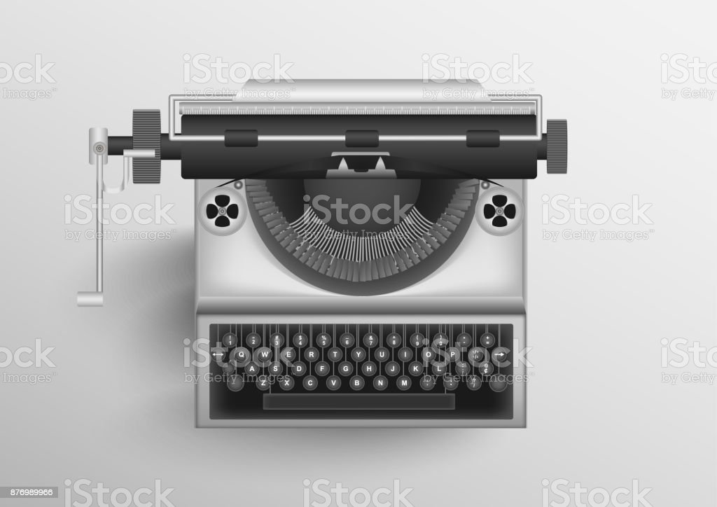 Classic Old Typewriter With White Background Vector Eps10