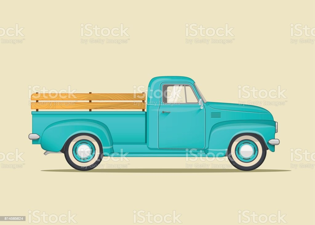 Classic pickup truck. Flat styled vector illustration. vector art illustration