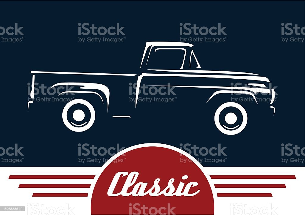 Classic pickup truck motor vehicle silhouette design vector art illustration