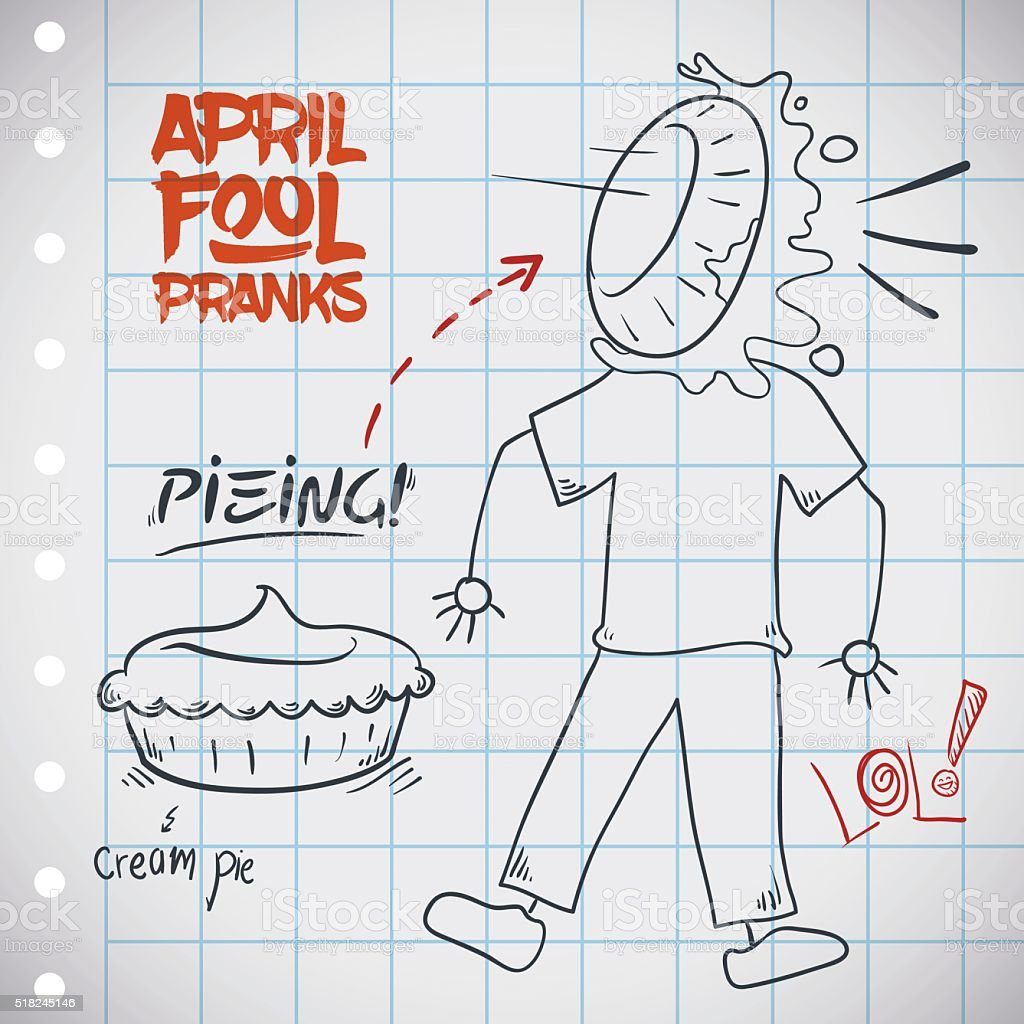 Classic Pieing Prank for April Fools' Day vector art illustration