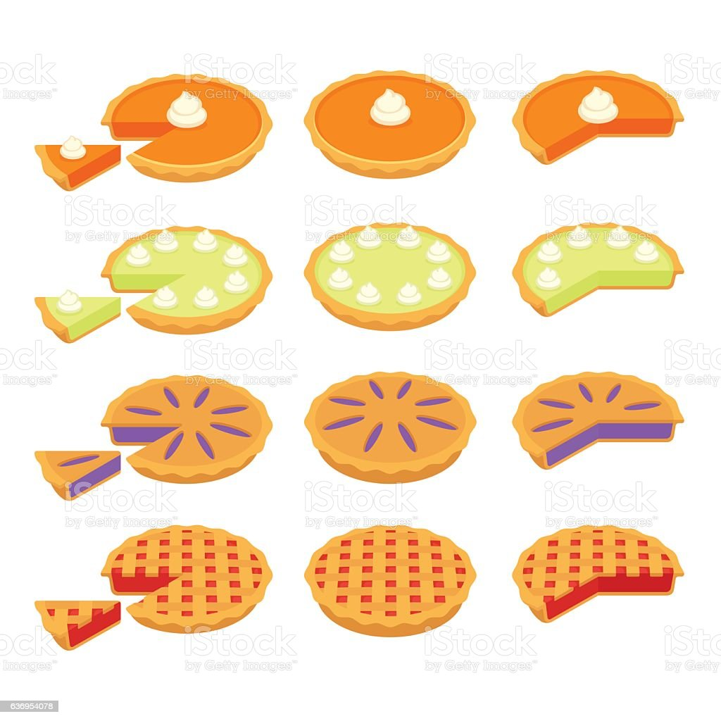 Classic pies set vector art illustration