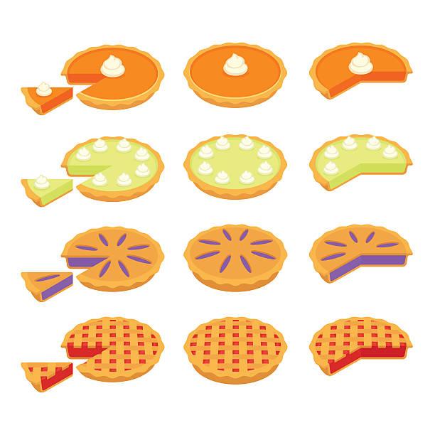 ilustrações de stock, clip art, desenhos animados e ícones de classic pies set - inteiro
