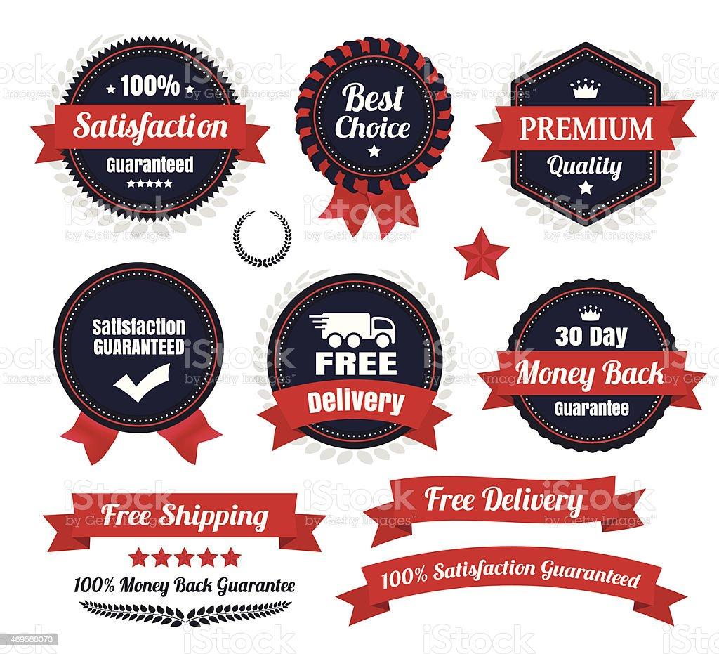 Classic Premium Quality Ecommerce Badges vector art illustration