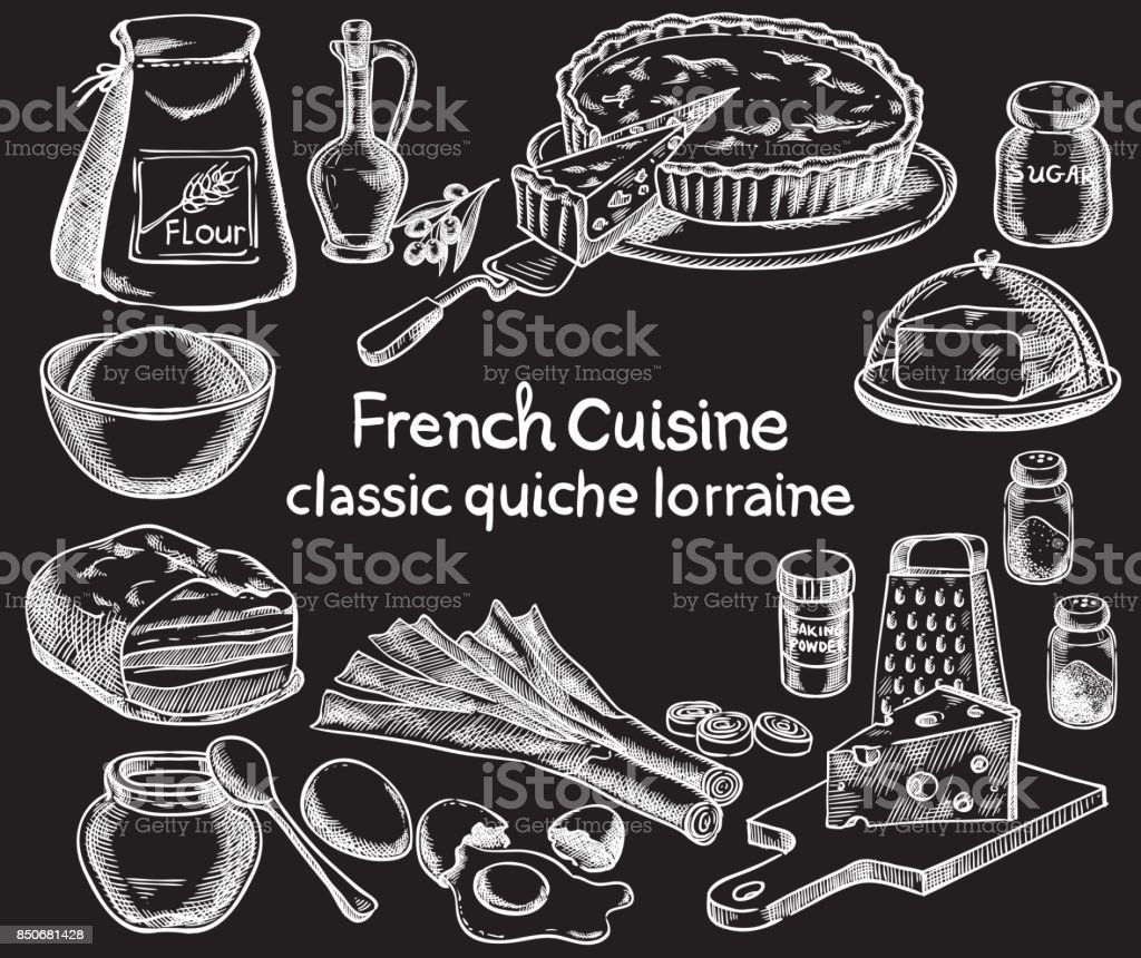 Classic quiche Lorraine, ingredients of the food. Vector sketch