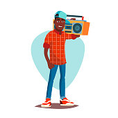 Rapper Man Vector. Rappers Style Clothing. Isolated Flat Cartoon Character Illustration