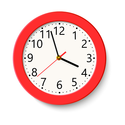 Classic Red Round Wall Clock Isolated On White Vector