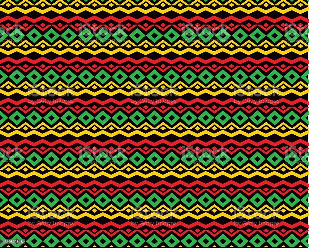 classic reggae color music background. Jamaica seamless pattern vector art illustration