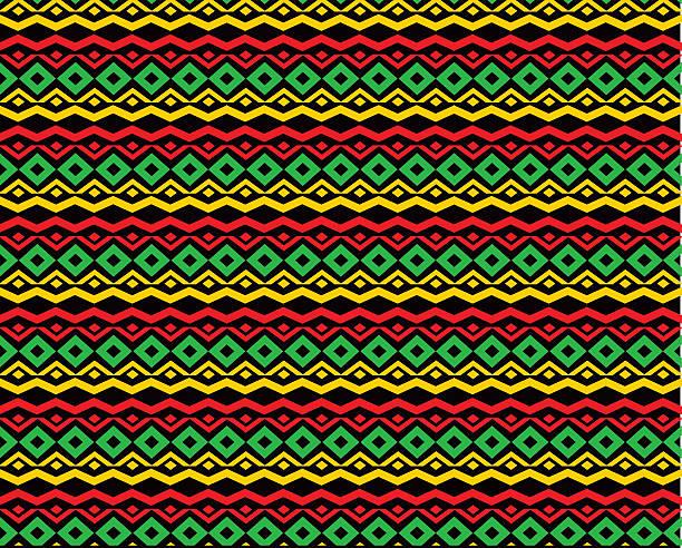 classic reggae color music background. jamaica seamless pattern - 카리브 문화 stock illustrations