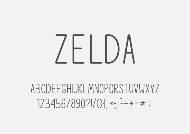 classic regular font. 10 eps. - thin line fonts stock illustrations