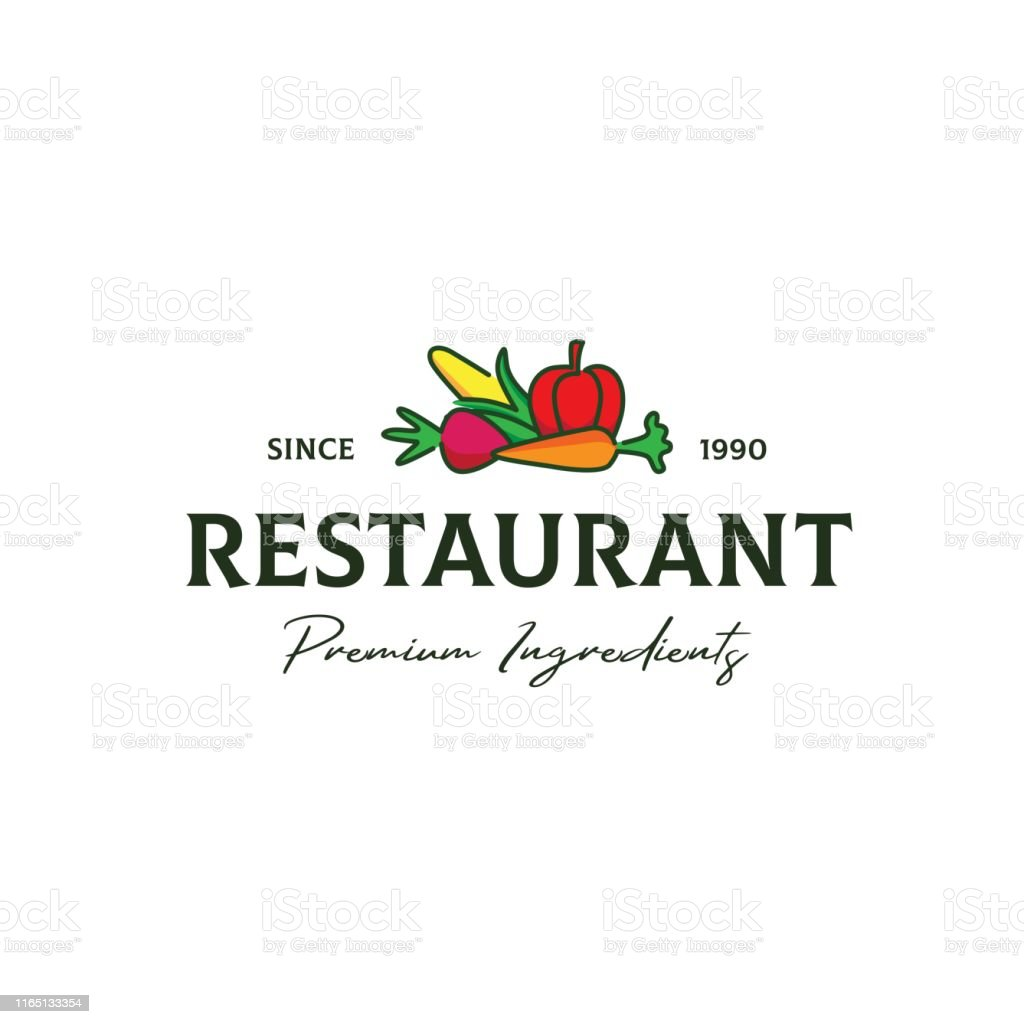 Classic Restaurant Logo Design With Colorful Vegetables Illustration Stock Illustration Download Image Now Istock