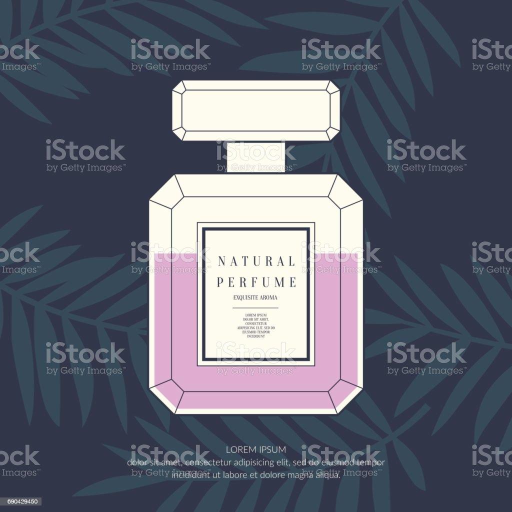 Clássico retrô frasco de perfume em um fundo tropical - ilustração de arte em vetor