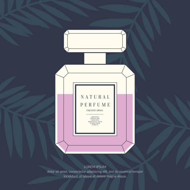 illustrazioni stock, clip art, cartoni animati e icone di tendenza di classic retro bottle of perfume on a tropical background - profumi spray